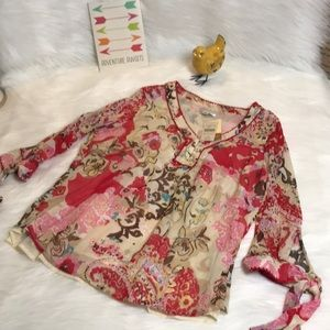 NWT Coldwater Creek flowy red pink floral top 1X